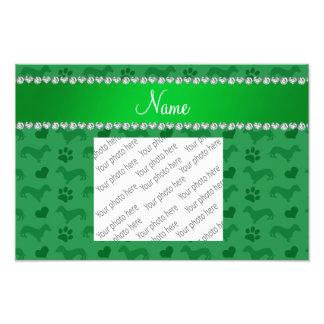 Custom name green dachshunds hearts paws photographic print