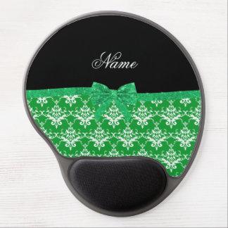 Custom name green damask glitter bow gel mouse pad