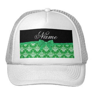 Custom name green damask glitter bow trucker hat