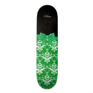 Custom name green damask glitter bow skate deck