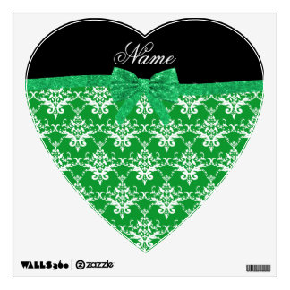 Custom name green damask glitter bow wall decor