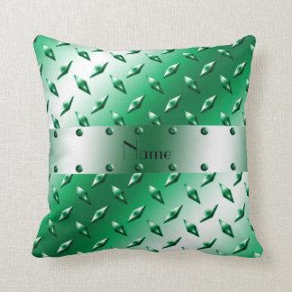Custom name green diamond plate steel pillows