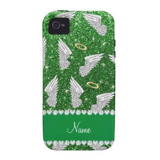 Custom name green glitter angel wings iPhone 4/4S covers