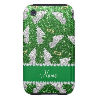 Custom name green glitter angel wings tough iPhone 3 case
