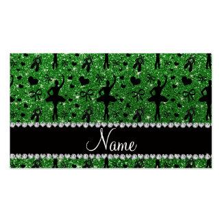 Custom name green glitter ballerinas business card templates