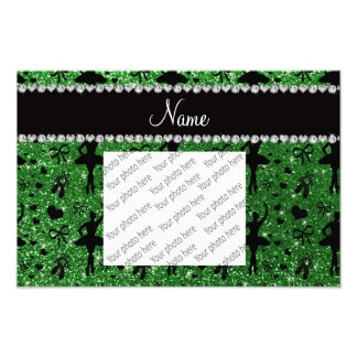 Custom name green glitter ballerinas photo print