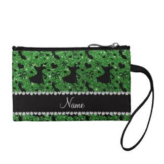 Custom name green glitter ballroom dancing change purses