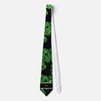 Custom name green glitter ballroom dancing neck tie