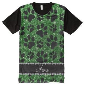 Custom name green glitter black dog paws All-Over print shirt