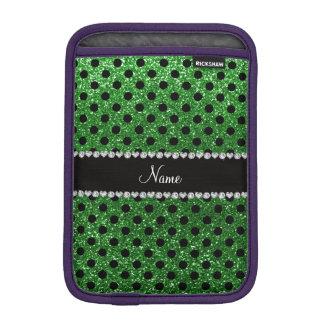 Custom name green glitter black polka dots iPad mini sleeves