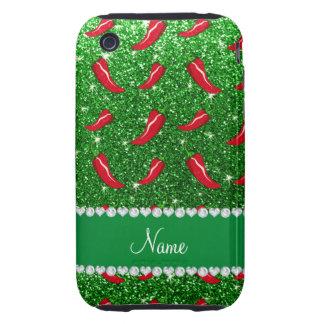 Custom name green glitter chili pepper iPhone 3 tough covers