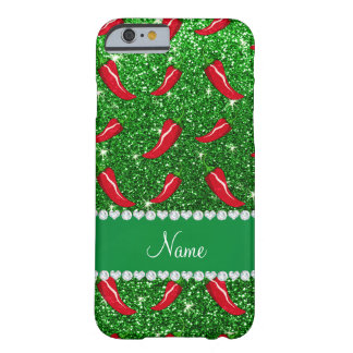 Custom name green glitter chili pepper barely there iPhone 6 case