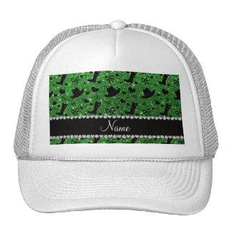 Custom name green glitter cowboy boots hats