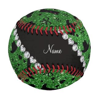 Custom name green glitter cowboy boots hats baseball