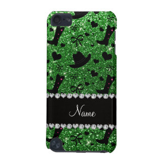 Custom name green glitter cowboy boots hats iPod touch (5th generation) cover
