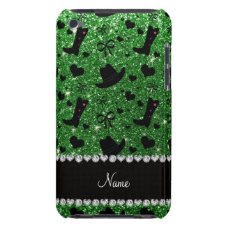 Custom name green glitter cowboy boots hats barely there iPod covers