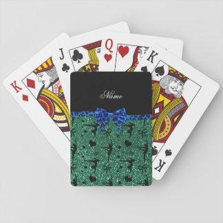 Custom name green glitter gymnastics blue bow playing cards