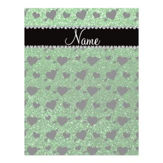 Custom name green glitter hearts arrows flyers