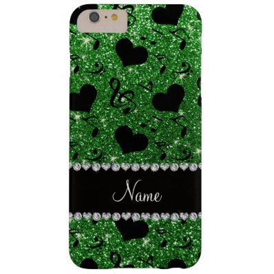 Custom name green glitter music notes hearts barely there iPhone 6 plus case