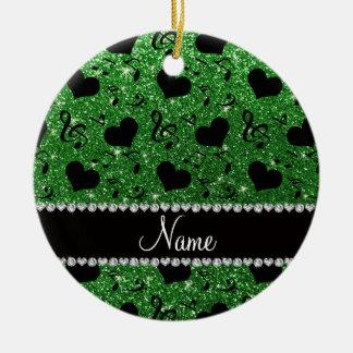 Custom name green glitter music notes hearts ceramic ornament
