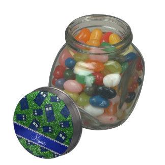 Custom name green glitter police box glass jars