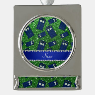 Custom name green glitter police box silver plated banner ornament