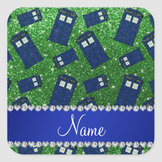 Custom name green glitter police box square sticker