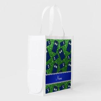 Custom name green glitter police box grocery bags