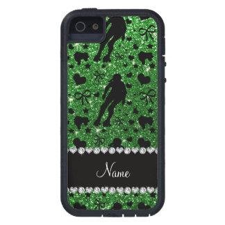 Custom name green glitter roller derby case for iPhone SE/5/5s