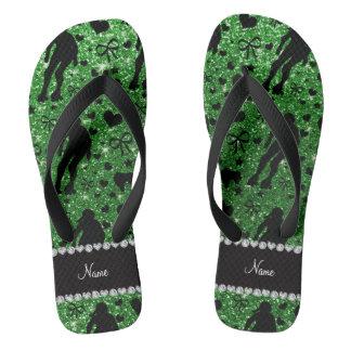 Custom name green glitter roller derby flip flops