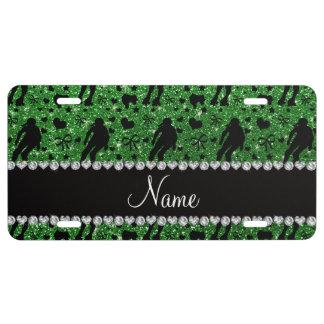 Custom name green glitter roller derby license plate