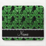 Custom name green glitter roller derby mouse pad