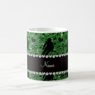 Custom name green glitter roller derby classic white coffee mug