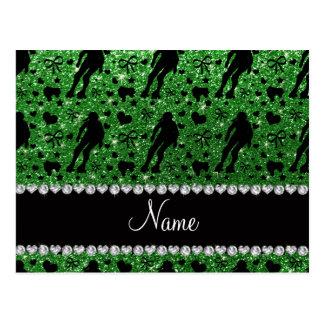 Custom name green glitter roller derby postcard
