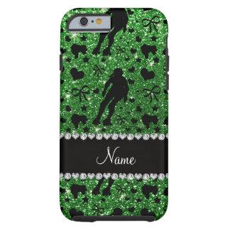 Custom name green glitter roller derby tough iPhone 6 case