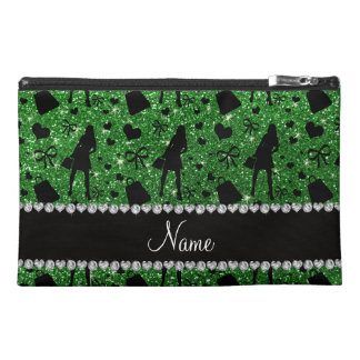 Custom name green glitter shopping pattern travel accessories bags