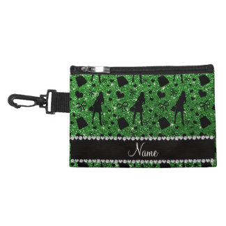 Custom name green glitter shopping pattern accessory bags