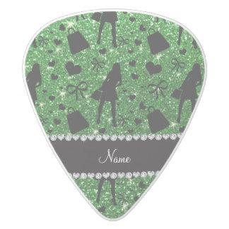 Custom name green glitter shopping pattern white delrin guitar pick