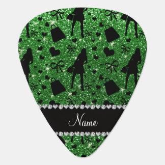 Custom name green glitter shopping pattern pick