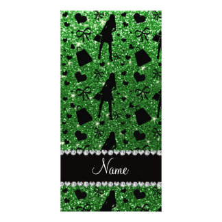 Custom name green glitter shopping pattern photo card template