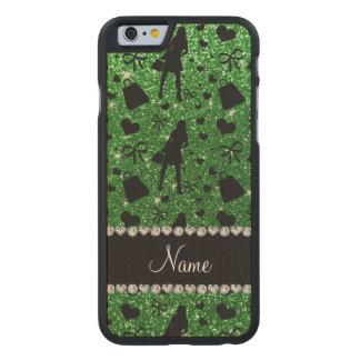 Custom name green glitter shopping pattern carved® maple iPhone 6 slim case
