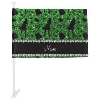 Custom name green glitter shopping pattern car flag