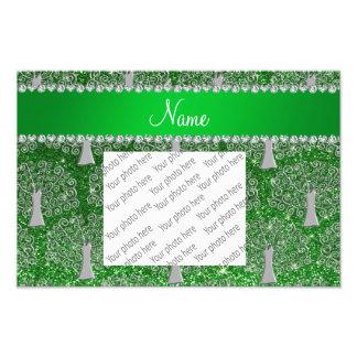 Custom name green glitter silver tree of life photo art