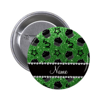 Custom name green glitter stars cupcakes button