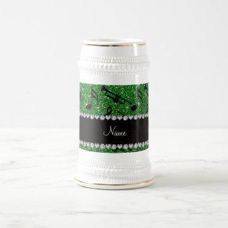 Custom name green glitter trumpets music notes mug