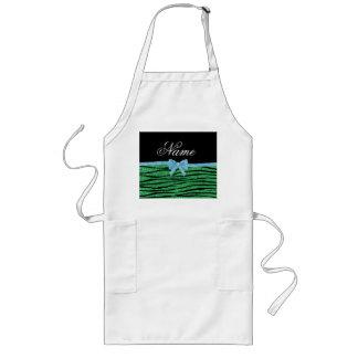 Custom name green glitter zebra stripes blue bow apron
