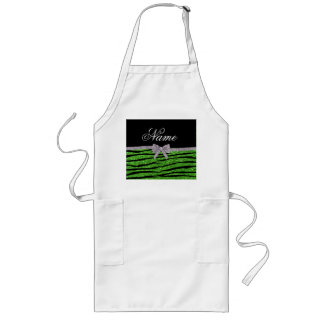 Custom name green glitter zebra stripes silver bow apron