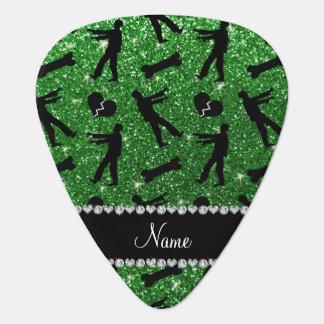 Custom name green glitter zombies guitar pick