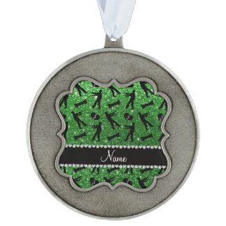Custom name green glitter zombies scalloped pewter christmas ornament