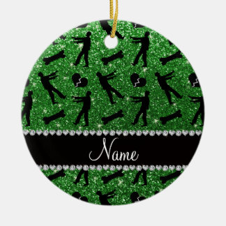 Custom name green glitter zombies Double-Sided ceramic round christmas ornament
